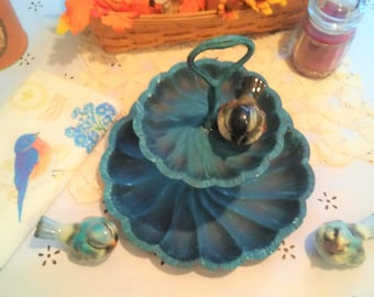 Blue Bird Blue Two Tier Serving Plate-   Shabby Chic Kitchen Decor- Tiered Server , Painted Blue Perfect for any kitchen, Reduced shipping