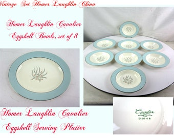 Homer Laughlin Cavalier Eggshell China Set, Includes One large Platter and Eight Bowls, White with blue trim, Excellent Condition