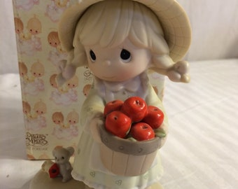 """Precious Moments Figurine , """"Happiness to the Core""""  from 1996, In the original box, Excellent Condition, with Reduced Shipping"""