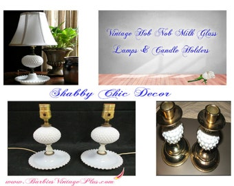 Hob NOB Milkglass Lamps and Candle Holders, Full Set of Four, With Free Shipping