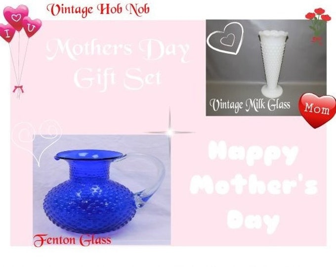 Vintage Fenton Tea Pitcher and Vintage Milk Glass Hob Nob Vase, Mothers Day Gift Set, Both in Excellent Condition, With Reduced Shipping