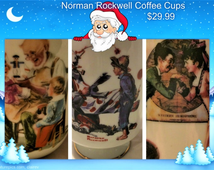 Norman Rockwell Collectable Coffee Mugs, Three Small, 5 oz, Vintage, Reduced SHIPPING