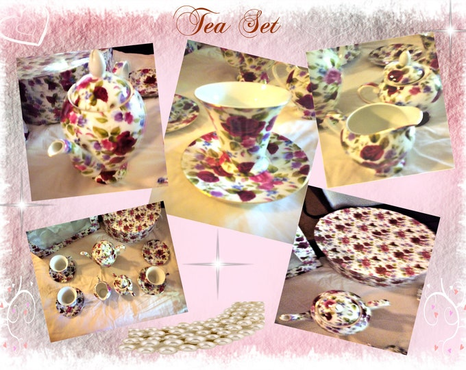 Caldo Freddo Fine Porcelien China Tea Set with Deep Red Peony's Flowers Pattern and Shine Gold trim in Original Decortive Box, Reduced Shipp