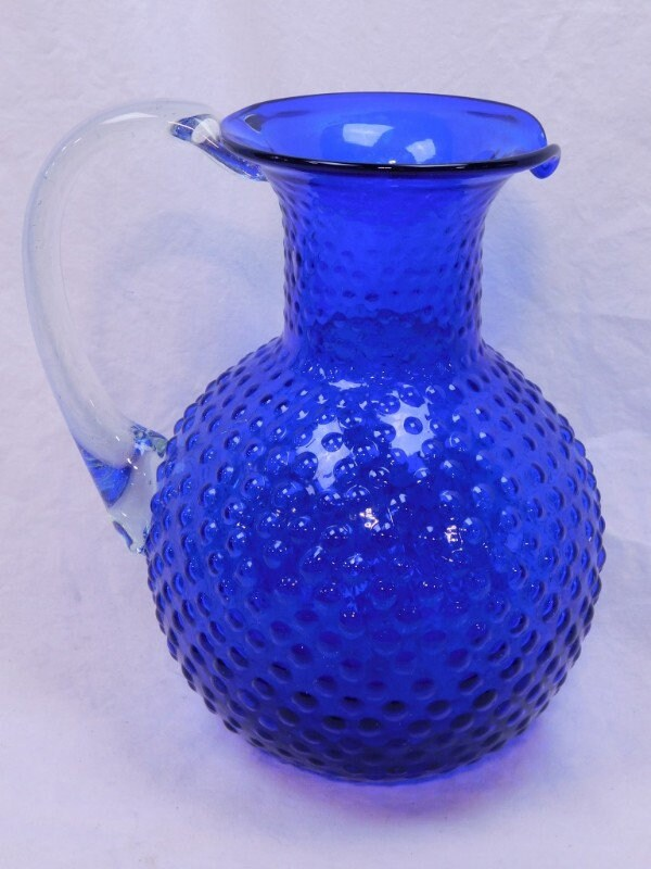 Vintage Fenton Tea Pitcher And Vintage Milk Glass Hob Nob Vase
