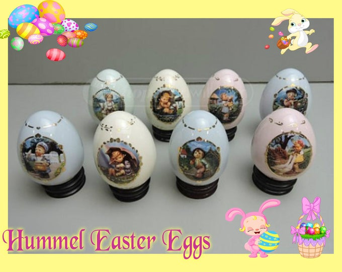 ON SALE   Danbury Mint Hummel Eggs with wood base  includes 8 Eggs