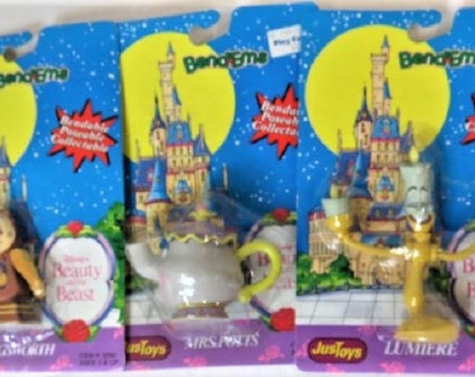 Vintage Disney Beauty and the Beast Movie Characters, Bendables, From 1991, In original unopened packages