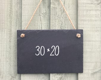 Handmade Natural Slate Chalkboard Notice Memo Kitchen Chalk Board 30cm x 20cm