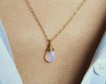 Bohemian Necklace, Boho Necklace, Crystal Necklace, Opalite Necklace, Gemstone Necklace, Tiny Necklace, Opalite Pendant, 14K Gold Filled