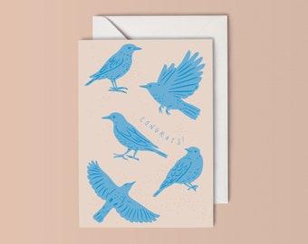 """Local Natives - Bird Print - """"Congrats/Awguri"""" Greeting Card"""