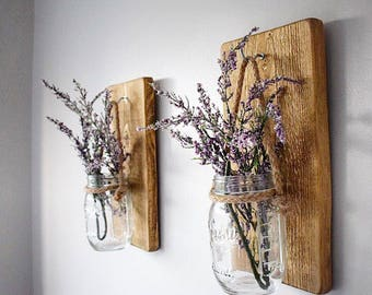Pair Of Rustic Medium Oak Coloured Wooden Wall Hanging Jar Candle Holder /  Flower Jar / Sconce/ Gift For Her / Spring Home Decor