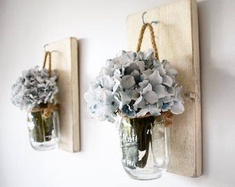 Pair of Cream Rustic wall hanging candle holders/flower jar/ Mason Jar Sconce / Sconces/ Gift for her/ Spring Home Decor