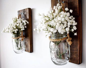 Pair of Dark Walnut Rustic Wooden Wall Hanging Jar Candle Holder / Flower Jar / Sconce/ Gift for her/ Spring Home Decor