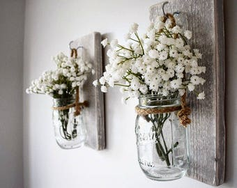 Pair of Grey Rustic Wooden Wall Hanging Jar Candle Holder / Flower Jar / Sconce/ Gift for her / Spring Home Decor