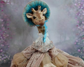Personal order Giraffe Boudoir handmade doll Collectible Doll Unique beautiful giraffe doll Original gift for lovers of animals Home decor