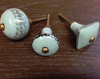Duck Egg Blue Vintage Cabinet Knobs