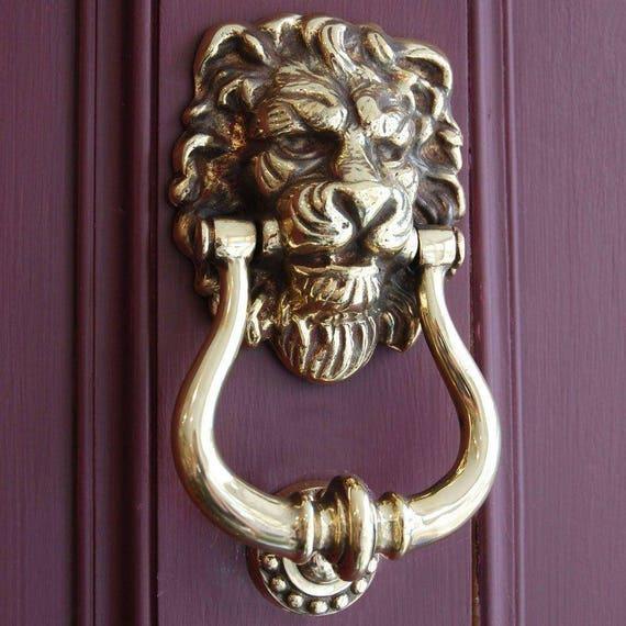 image 0 - Antique Brass Lion's Head Door Knocker Etsy