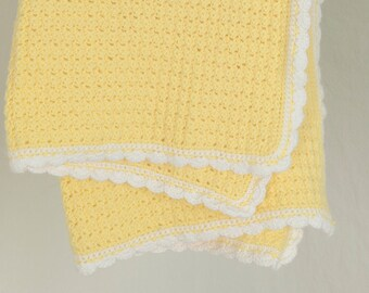 Crochet Yellow Baby Blanket with White Border, Afghan, Baby Gift
