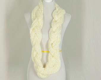 Crochet Braided Infinity Scarf, Ivory Neckwarmer, Oversized, Winter Accessory, Gift for Her