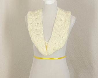 Crochet Infinity Scarf, Ivory Neckwarmer, Winter Accessory, Gift for Her