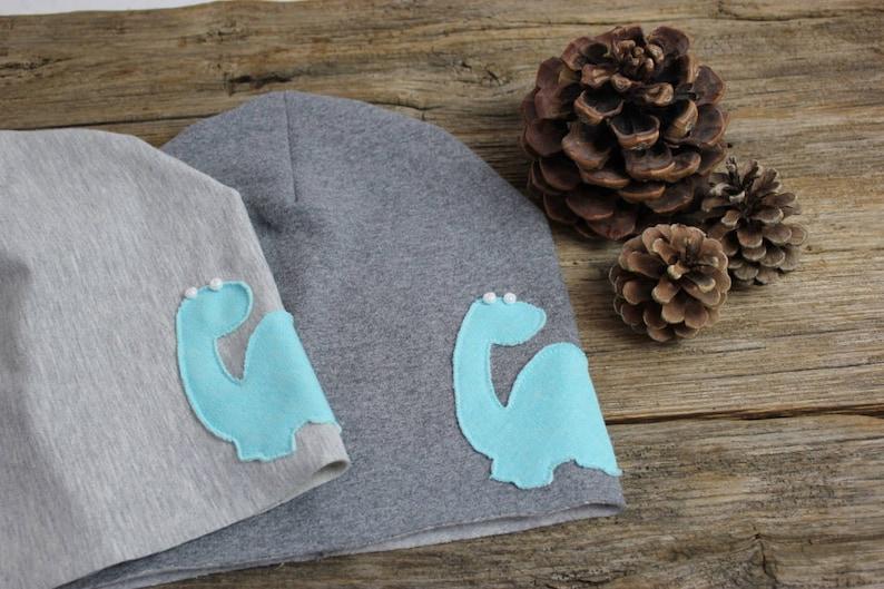 Winter soft Cap-childadult cap with dinosaur application-soft cotton sweatshirt-Slouchy winter beante Cap
