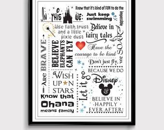 Disney Gift Disney Family Disney Quotes Disney Print | Etsy