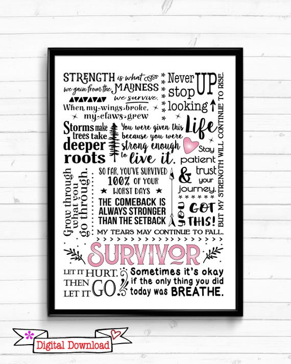 Cancer Survivor Gift - Cancer Quotes - Breast Cancer Gift - Breast Cancer  Survivor Gift - Breast Cancer Print - Breast Cancer Wall Art