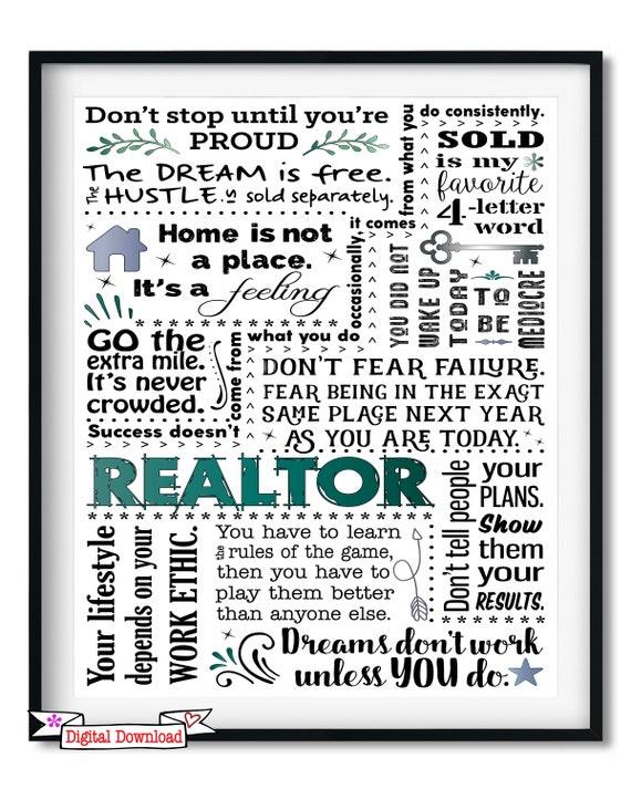 Realtor Quotes Popular Realtor Quotes Realtor Gift Realtor Art Print Digi | Etsy Realtor Quotes