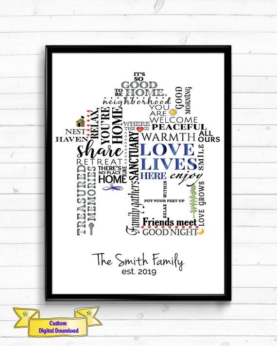 Housewarming Gift New Home Gift,Personalized Digital Art Print