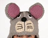 Hat animal - UNIKAT - handmade funny beanie in the shape of a mouse for adults