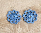 Light blue crochet earrings