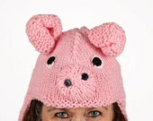 Hat animal - UNIKAT - handmade funny hat in pig shape for adults