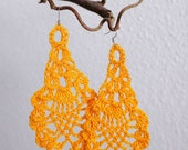 Yellow crochet earrings (earrings, ear jewellery, crochet earrings)