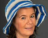 striped crochet hat with brim (crocheted, women's hat, summer hat, sun hat)