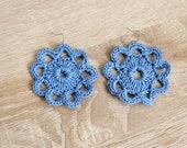 Light blue crochet earrings