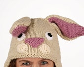Hat animal - UNIKAT - handmade funny winter hat in bunny shape for adults