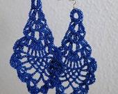 Blue crochet earrings