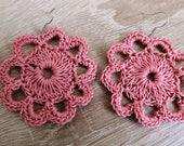 Old pink crochet earrings