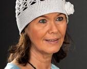 Crochet hat with rose (crocheted, ladies hat, summer hat, sun hat)