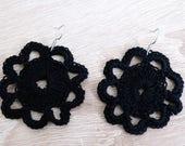 Black crochet earrings