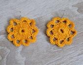 Yellow crochet earrings