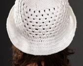 white crochet hat with brim (crocheted, women's hat, summer hat, sun hat)