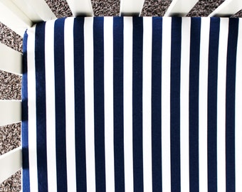Navy and White Striped Fitted Crib Sheet. Baby Bedding. Crib Bedding. Navy Crib Sheet