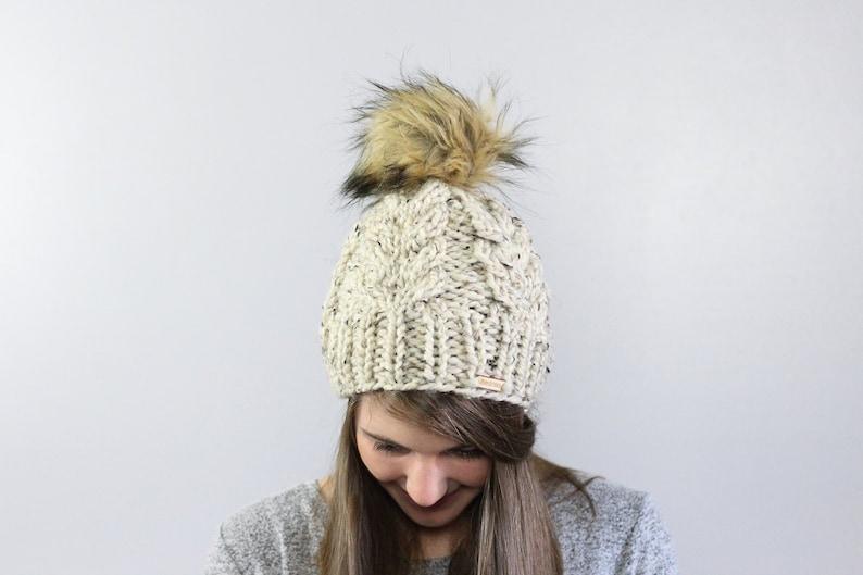 a403210b32b Chunky Beanie Warm Winter Beanie Pom Pom Hat Chunky Knit