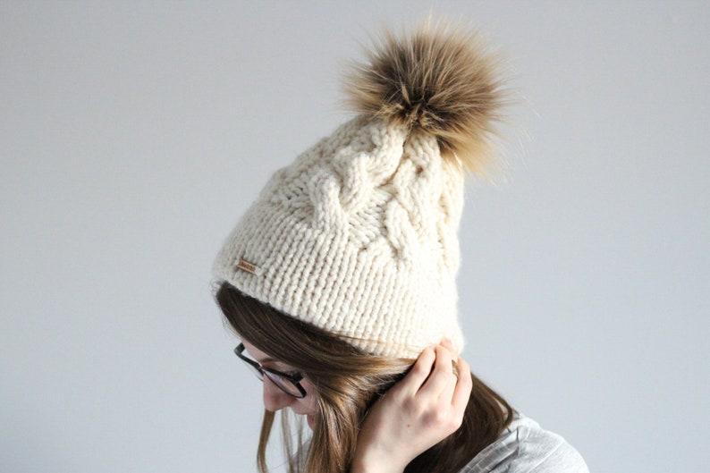 84d912d1c42 Cable Hat Beanie Pom Hat Faux Fur Pom Chunky Oversized Hat