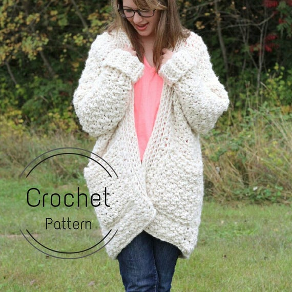 Cloud Cardigan Pattern Crochet Pattern Super Chunky Cardigan Etsy