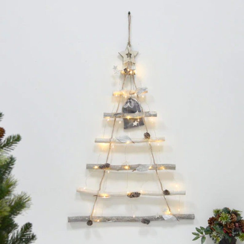 Light Up Hanging Wooden Ladder Christmas Tree