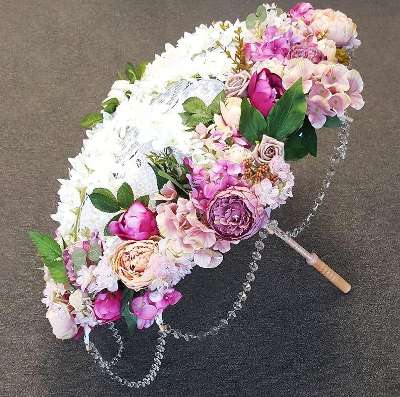 6a290422d781 Bridal Umbrella Parasol Bridal Floral Umbrella Wedding Photography Decor  Window Shop Display Spring Summer Runway Decor