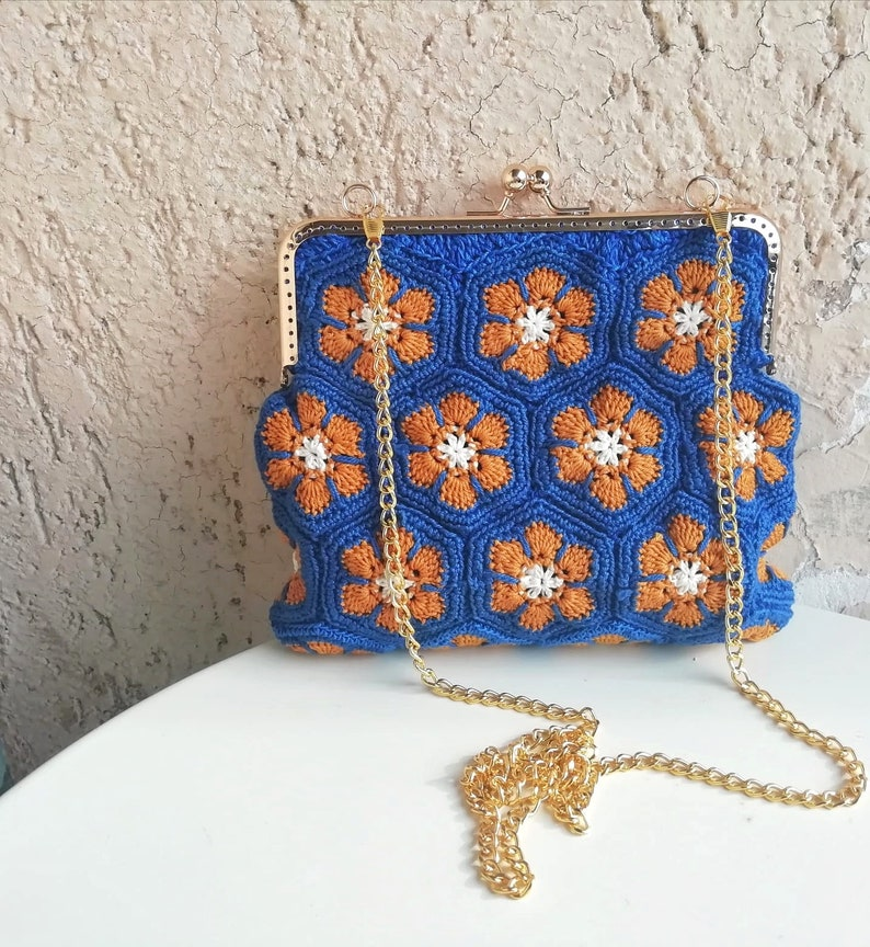 cotton bluish and mustard refined and elegant bag  boho chic  vintage style gold Crochet clic clac bag with flowers