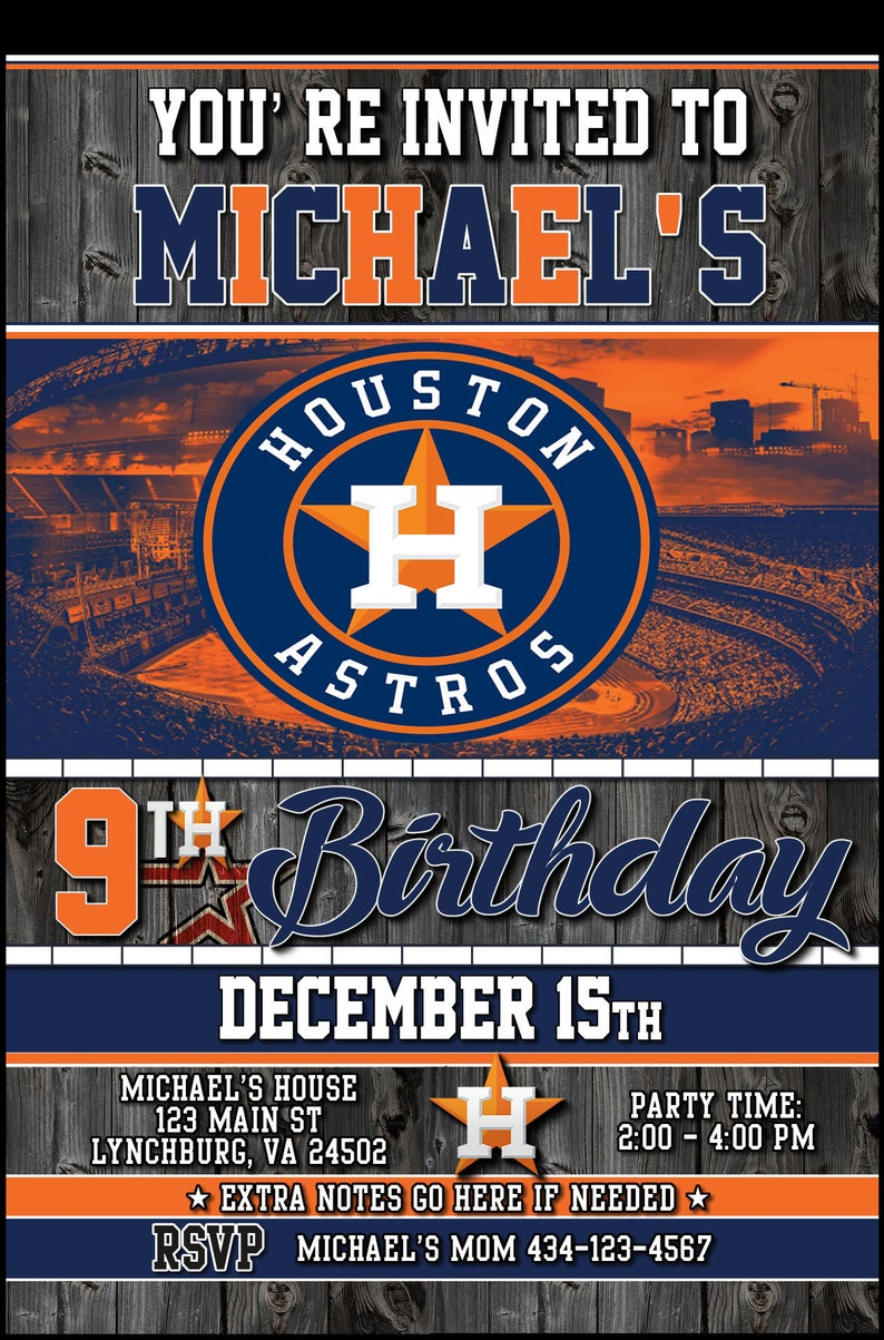 image regarding Houston Astros Printable Schedule identify Customized Houston Astros Brand 5x7 Printable Birthday Occasion Invitation Electronic Obtain Design 1