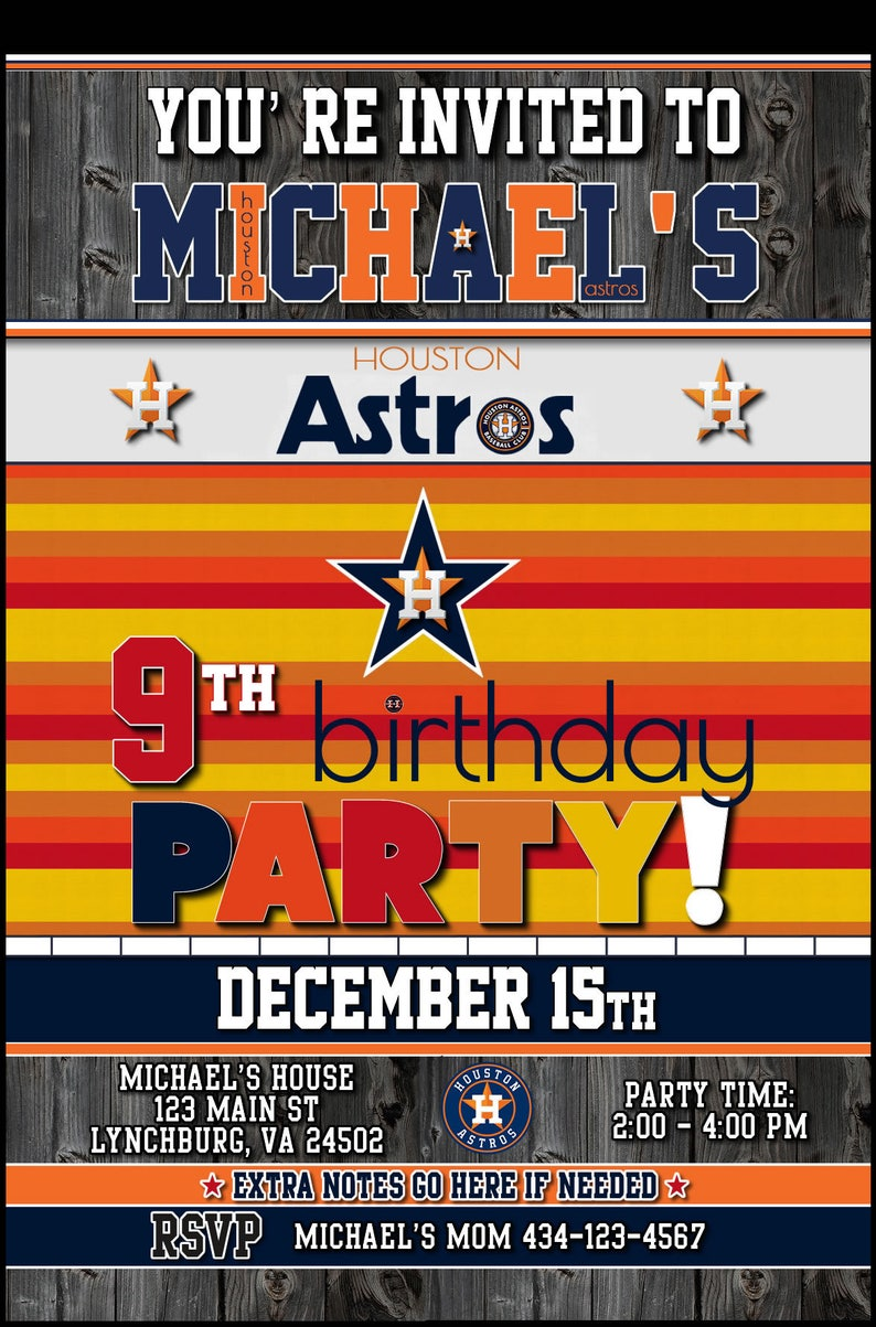 photograph about Houston Astros Printable Schedule known as Tailor made Houston Astros Environment Collection Champions Emblem 5x7 Printable Birthday Get together Invitation Electronic Obtain Style and design 3